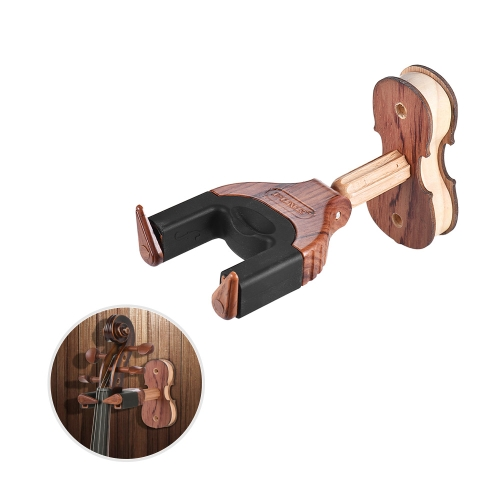 Wall Mount Violin Fiddle Viola Hanger Hook Holder Keeper Auto Grip System Rubber Cushion Wood Base