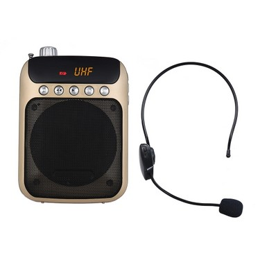 UHF Mini Portable Voice Amp Amplifier Loudspeaker FM Radio with Wireless Headset Microphone Mic Support TF Card