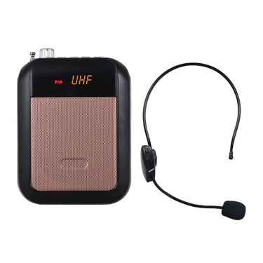 UHF Mini Portable Voice Amp Amplifier Loudspeaker FM Radio with Wireless Headset Microphone Surpport TF Card