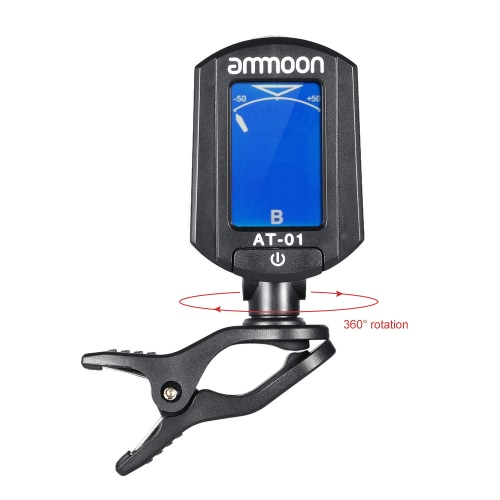ammoon AT-01 Portable Mini Clip-on Digital Tuner Foldable & 360 Degree Rotating for Chromatic Guitar Bass Violin Ukulele