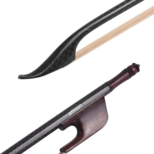 ammoon Baroque Style 4/4 Violin Fiddle Bow Carbon Fiber Round Stick Snakewood Frog White Horsehair Well Balanced