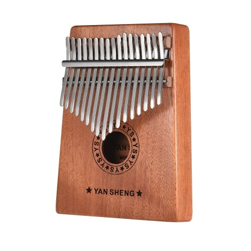 Portable 17-key Kalimba Thumb Piano Mbira Sanza Mahogany Wood with Carry Bag Stickers Tuning Hammer Cleaning Cloth Finger Stall Musical Gift