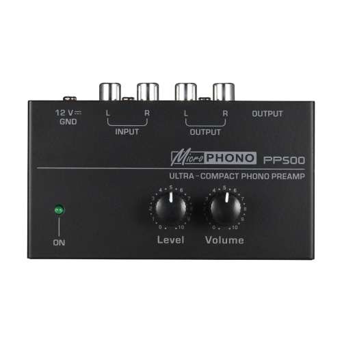 Ultra-compact Phono Preamp Preamplifier with Level & Volume Controls RCA Input & Output 1/4″ TRS Output Interfaces