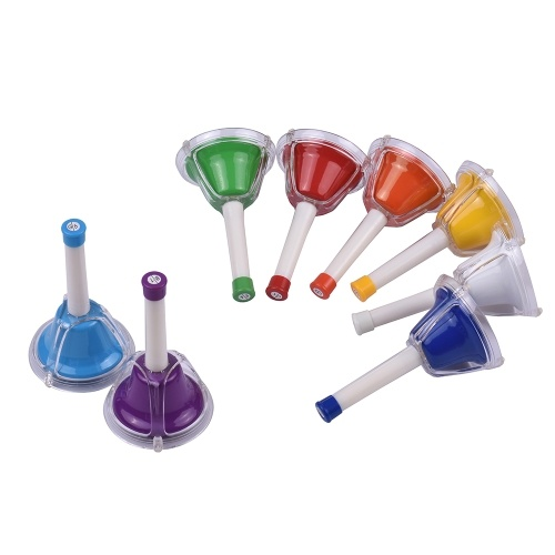 8 Note Diatonic Metal Bell Colorful Handbell Hand Percussion Bells Kit Musical Toy for Kids Children for Musical Learning Teaching