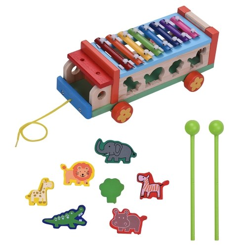 Multifunctional Wooden Toy Car with 8 Notes Xylophone Glockenspiel
