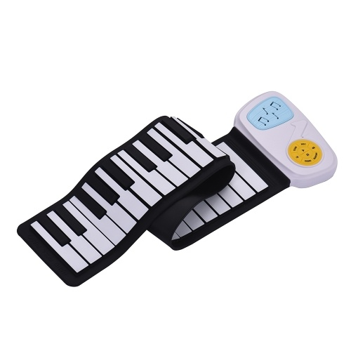 Portable 49-Key Silicon Electronic Keyboard Roll-Up Piano Built-in Speaker With Cartoon Sticker for Children Kids