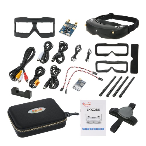Skyzone SKY02S V+ 3D FPV Goggle/Video Glasses with Built-in 3D/2D Mode 48CH 5.8G Diversity Receiver Head Track and Camera for RC Quadcopter Airplane Aerial Photography
