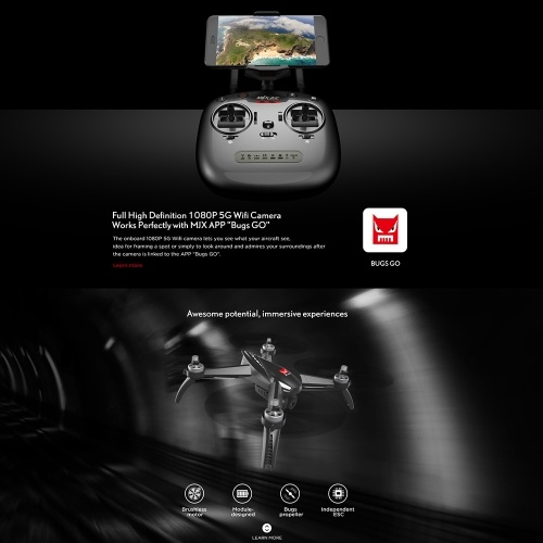 MJX Bugs 5W 1080P 5G Wifi FPV Camera GPS Positioning Altitude Hold RC Drone Quadcopter with 2 Batteries