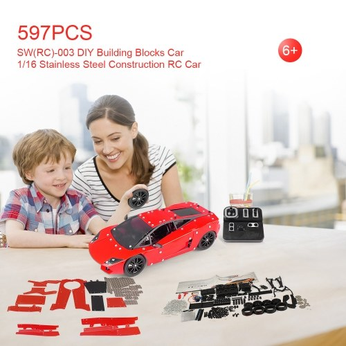 SW(RC)-003 597Pcs DIY Building Blocks Car 1/16 2.4G Stainless Steel Construction RC Car