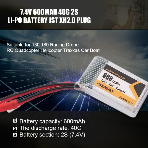 7.4V 600mAh 40C 2S Li-Po Battery JST XH2.0 Plug for 130 180 Racing Drone RC Quadcopter Helicopter Traxxas Car Boat