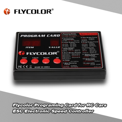 Original Flycolor Programing Card for RC Cars ESC Electronic Speed Controller