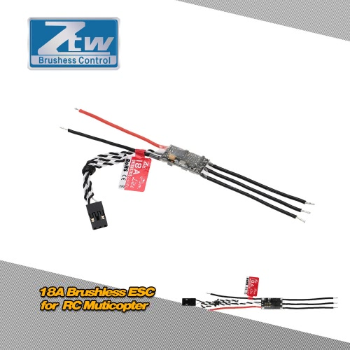 Original ZTW Spider 18A Lite 2-4S LiPo Battery Brushless OPTO ESC Electronic Speed Controller with Blheli Firmware for F300 F330 RC Muticopter
