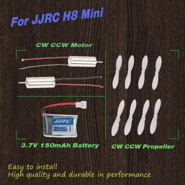 RC Part CW CCW Motor and 3.7V 150mAh Lipo Battery with 4 Pair of CW CCW Propellers for JJRC H8 Mini RC Quadcopter