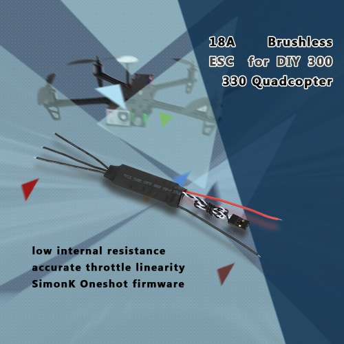 18A Brushless ESC Electronic Speed Controller with Low Internal Resistance for QAV250 300 330 RC Quadcopter Multicopter