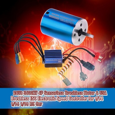 2838 3600KV 4P Sensorless Brushless Motor & 35A Brushless ESC Electronic Speed Controller for 1/14 1/16 1/18 RC Car