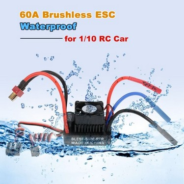 Waterproof 60A Brushless ESC Electronic Speed Controller with 6V/2A BEC for 1/10 RC Car