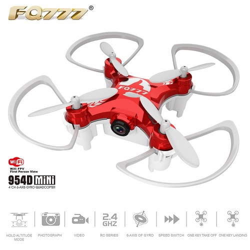 FQ777 954D 2.4GHz 4CH 6-Axis Gyro 0.3MP Camera WiFi FPV Quadcopter – Phone APP Control
