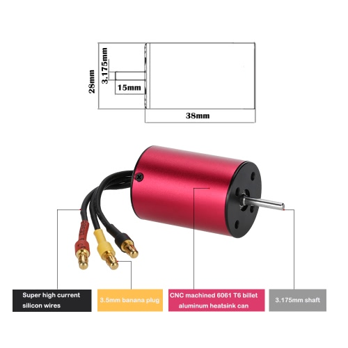 GoolRC S2838 3800KV Sensorless Brushless Motor for 1/18 1/16 RC Car