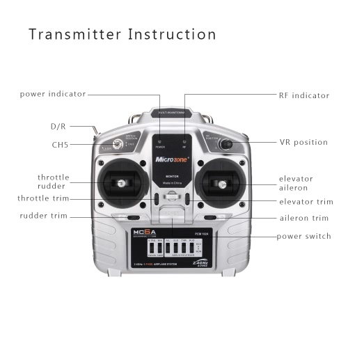 MC6C 2.4G S-FHSS 6CH Mode 2 Transmitter with E6-A 6CH Receiver for RC Fixed-wing Quadcopter Multicopter Drone