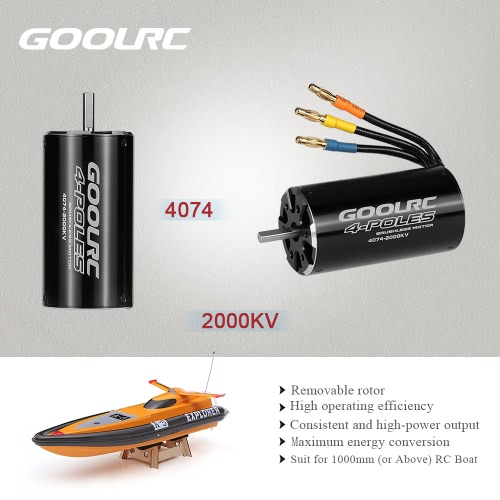Original GoolRC High Performance 4074 2000KV 4 Poles Brushless Sensorless Motor for 1000mm (or Above) RC Boat