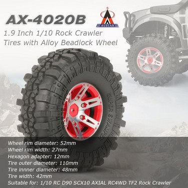 4Pcs AUSTAR AX-4020B 1.9 Inch 110mm 1/10 Rock Crawler Tires with Alloy Beadlock Wheel Rim for D90 SCX10 AXIAL RC4WD TF2 RC Car