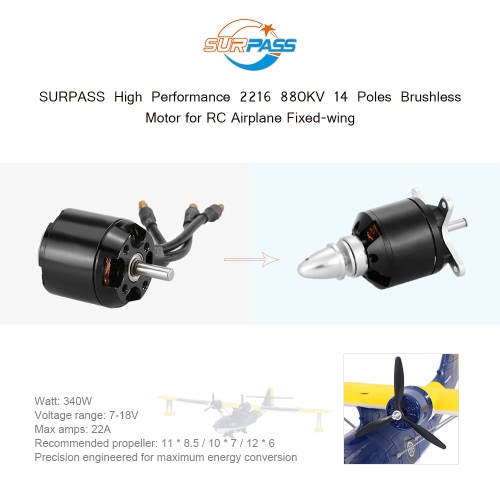 Original SURPASS High Performance 2216 880KV 14 Poles Brushless Motor for RC Airplane Fixed-wing