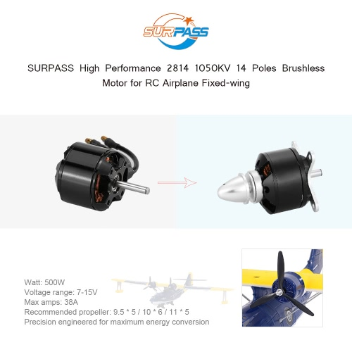 Original SURPASS High Performance 2814 1050KV 14 Poles Brushless Motor for RC Airplane Fixed-wing