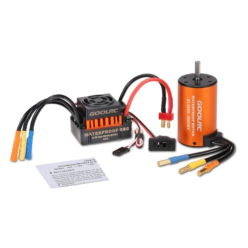 GoolRC Upgrade Waterproof 3660 3800KV Brushless Motor with 60A ESC Combo Set for 1/10 RC Car Truck