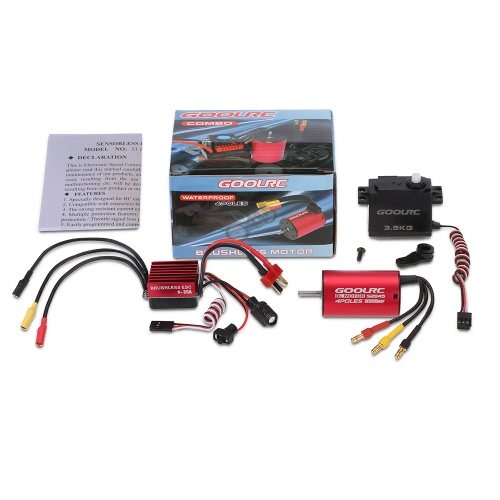 GoolRC S2845 3900KV Brushless Motor 35A ESC 3.5kg Servo Combo Set for 1/12 1/14 RC Car
