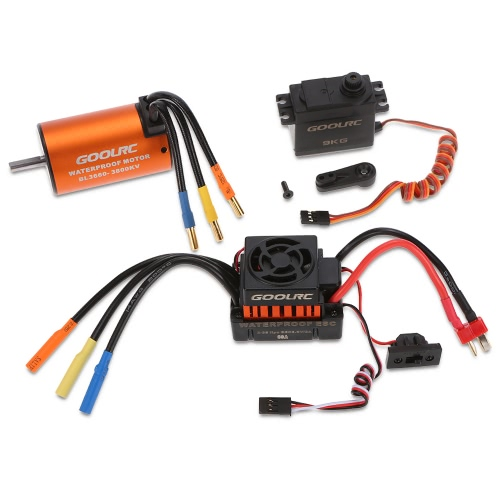 GoolRC 3660 3800KV Waterproof Brushless Motor 60A ESC with 9.0kg Metal Gear Servo Combo Set for 1/10 RC Car