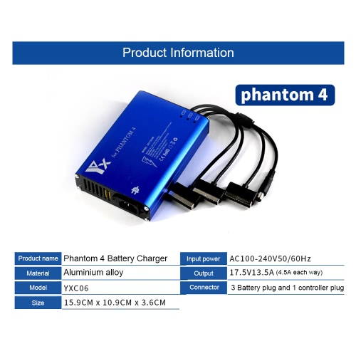 4 in 1 Parallel Power Hub Intelligent Battery Charger for DJI Phantom 4 / 4 Pro Advanced FPV Drone Quadcopter