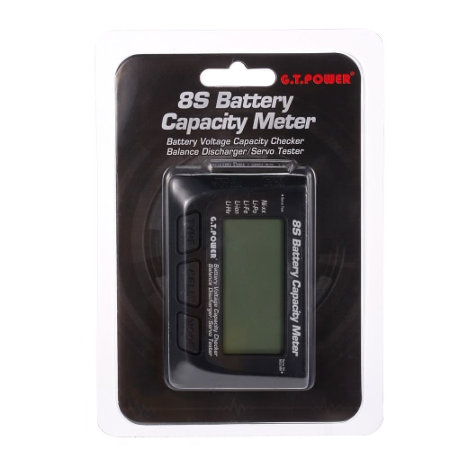G.T.POWER 8S Battery Voltage Capacity Meter PPM Digital LED Servo Tester for RC Car Aircraft Quadcopter