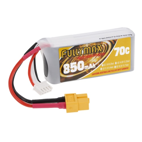 FULLYMAX 3S 11.1V 850mAh 70C High Rate XT60 Plug LiPo Battery for 130 LS180 FPV Racing Quadcopter RC Car Boat