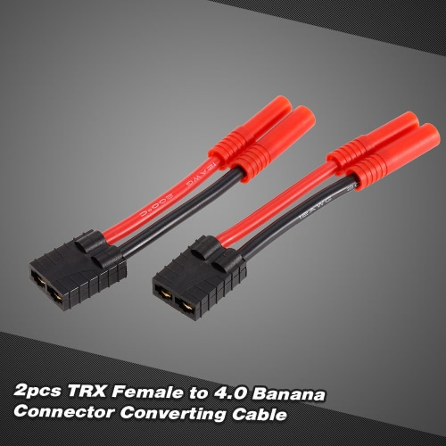 2pcs Female to 4.0 Female Banana Connector Ultra Adapter Wire Harness for Traxxas RC Car