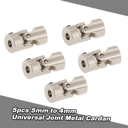 5pcs Stainless Steel 5 to 4mm Full Metal Universal Joint Cardan Couplings for RC Car and Boat D90 SCX10 RC4WD