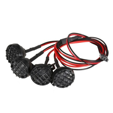 Metal Front Bumper with Winch Mount Shackle and Bright LED Lamp Kit for 1/10 RC4WD D90 Axial SCX10 RC Rock Crawler Car