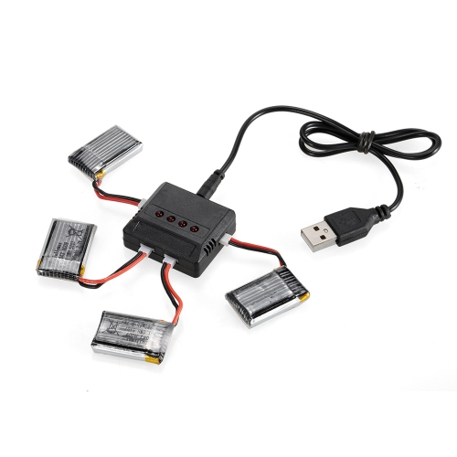 4pcs 3.7V 280mAh Li-po Battery with 4 in 1 USB Battery Charger Kit for TB-802 FQ17W GoolRC T100 Drone Quadcopter