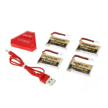 4pcs GoolRC 500mAh 3.7V 25C LiPo Battery with 4 in 1 USB Charger for Syma X5 X5SW X5C X5C-1 RC Quadcopter