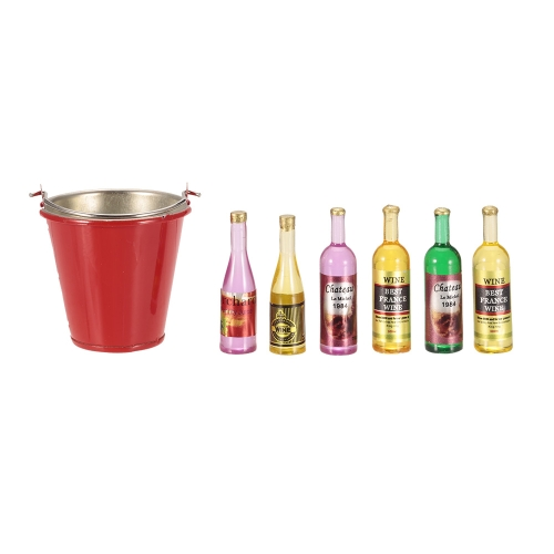 One Simulation Bucket and Six Wine Bottles RC Decoration Tool DIY Kit for 1/10 RC Crawler Off-road Car Monster Truck