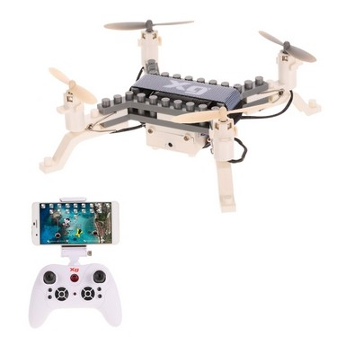 XG171G 0.3MP Camera Wifi FPV DIY Building Block Drone Height Hold One Key Return Clip Quadcopter Toy