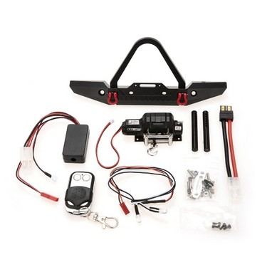 Metal Front Bumper Bright LED Lamp Winch Controller and Receiver Kit for 1/10 TRX-4 RC Crawler Off-road Climbing Car