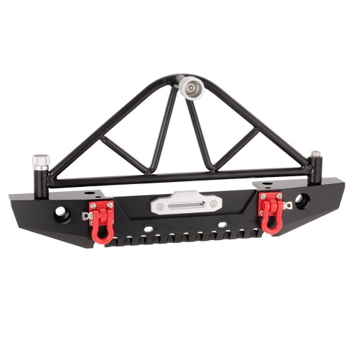 Metal Rear Bumper Bull Bar with LED Headlights Winch Mount Seat for 1/10 AXIAL SCX10 RC Rock Crawler
