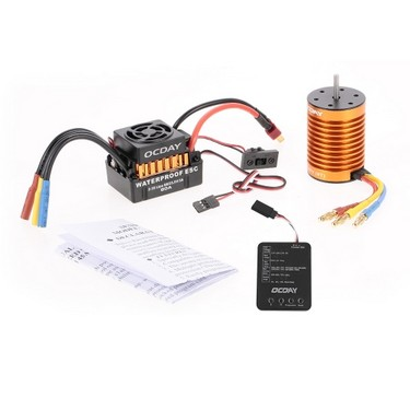 OCDAY Waterproof 60A Brushless Car Electronic Speed Control ESC + 9T 4370KV 4P Sensorless Brushless Motor + Programming Board