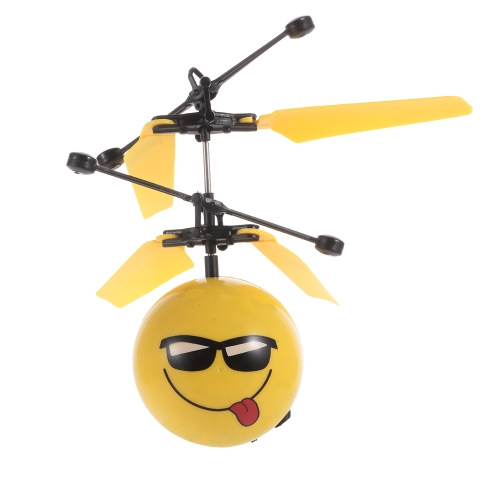Creative Emoji Levitating Sphere Smiley Face Helicopter Flying Ball Emoticon Drone Hand Control Aircraft RC Toy Children Gift