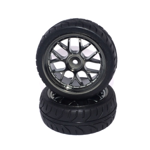 2pcs 1/10 Black Rubber Tires & Wheel Rims High Grip Tyre for HPI HSP LRP FS on Road Diameter 65mm RC Racing Car