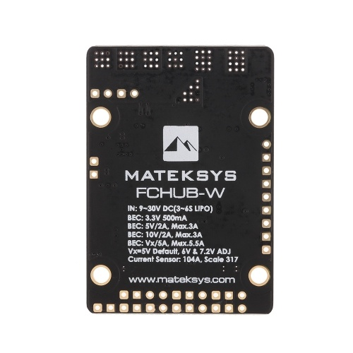 Matek FCHUB-W PDB Power Distribution Board 3-6S Built-in 4 BEC & 104A Current Sensor for RC FPV Racing Drone