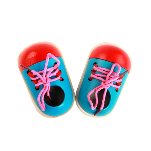 Wood Lacing Sneaker Educational Shoes Kids' Toy Learn How To Tie Shoelaces Hand Coordination Development Educational Toy