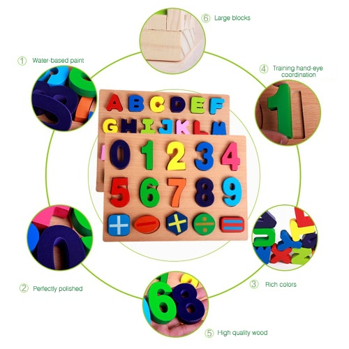 Two Types of Wooden Number Peg Puzzle Board Hand Knob Peg Puzzle Wooden Chunky Puzzle Early Educational Toys for Kids
