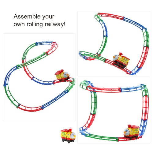 SHU YE 661H-8 37PCS Twister Tracks Flexible Assembly Track Car Train Locomotive for Kids