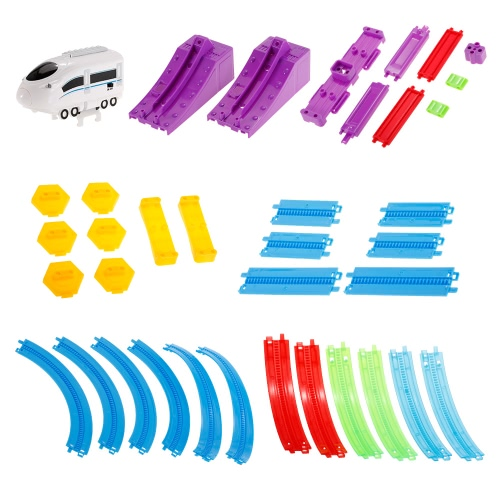 SHU YE 661J-5 36PCS Twister Tracks Flexible Assembly Track Car Train Locomotive for Kids